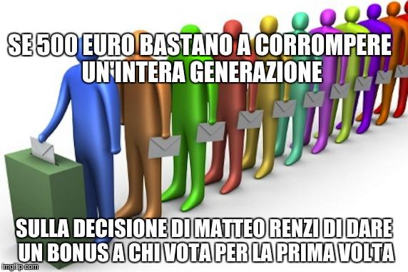 Se 500 euro bastano a corrompere un'intera generazione