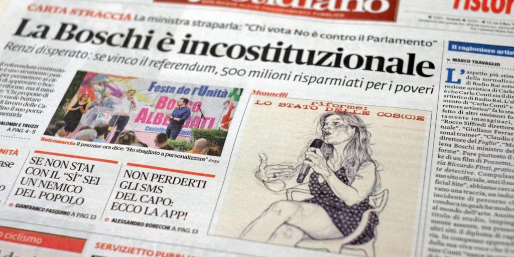 Una vignetta pubblicata in prima pagina sul Fatto Quotidiano che ritrae la Ministra Maria Elena Boschi, Roma, 10 agosto 2016. ANSA/ALESSANDRO DI MEO