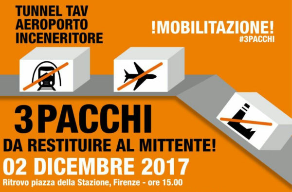 2 dicembre: Mobilitazione #3PACCHI da restituire al mittente. Appello alla Piana Fi-Po-Pt per una mobilitazione contro grandi opere e nocività.