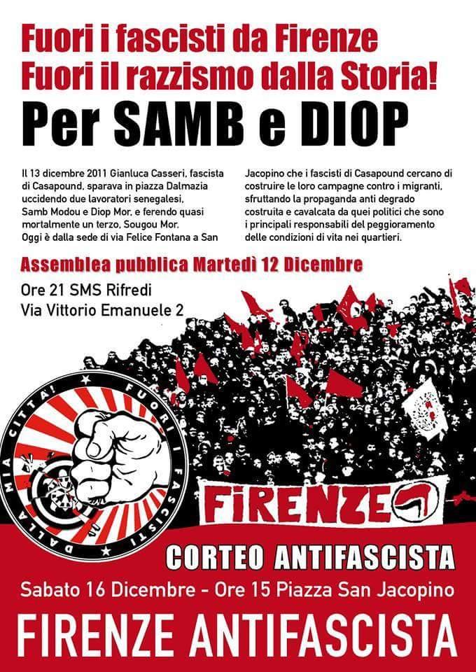 A San Jacopino per Samb e Diop. Chiudiamo le sedi di CasaPound, smascheriamo e respingiamo razzismo e fascismo!