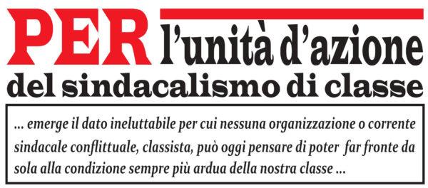 Per un'Assemblea autoconvocata del Sindacalismo di classe, il 2 dicembre a Firenze