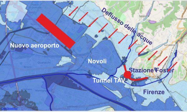 Disastri ambientali e l'effetto diga del nuovo aeroporto e del tunnel Tav a Firenze