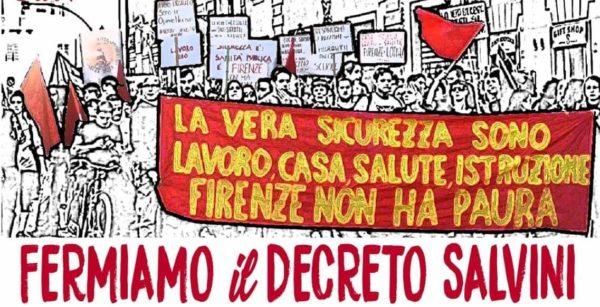Sabato 17 novembre a Firenze in Piazza contro razzismo e repressione. Fermiamo il Decreto Salvini