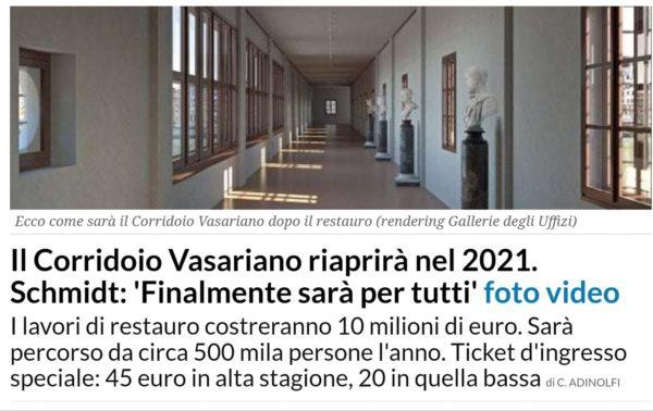"""Riapre il Corridoio Vasariano a Firenze, ma non """"per tutti"""": costerà 45 euro"""