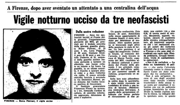 In ricordo di Remo Pietroni, assassinato dai fascisti a Coverciano per aver sventato una strage
