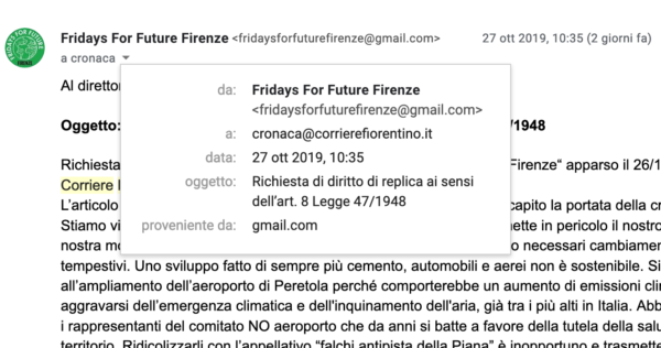 Fridays For Future Firenze offesi dal Corriere Fiorentino che, infine, ignora la replica