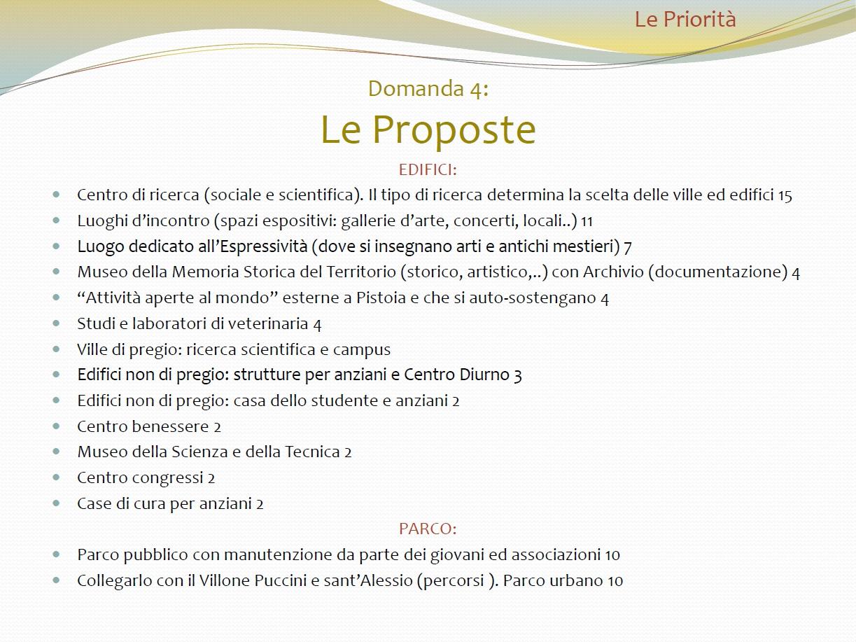 Le proposte del percorso partecipativo del 2009